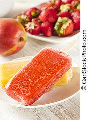 organiczny, popsicle, mrożony, truskawka, owoc, ...