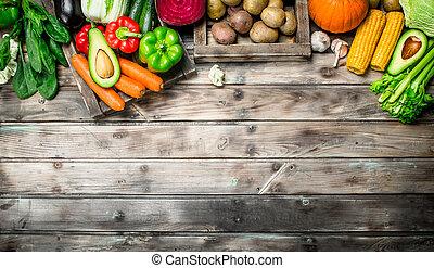 organiczny, vegetables., zdrowy, jadło., owoce, świeży, asortyment