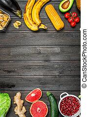 organiczny, vegetables., zdrowy, jadło., owoce, asortyment