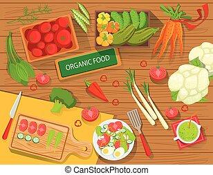 organiczny, warzywa, gotowanie, nad, stół, świeży, attributes, prospekt