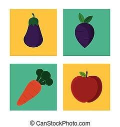 organiczny, wegetarianin, zbiór, owoc, smakowity, roślina