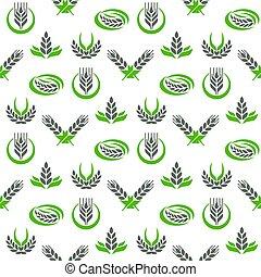 organiczny, zboże ziarnuje, jadło, próbka, przemysł, seamless, ilustracja, wektor, projektować, tło, kasownik, symbol rolnictwa, kłosie