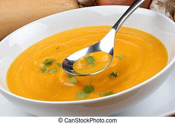 organiczny, zdrowy, miąższ, zupa, creme, butternut