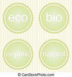 organique, étiquettes, ensemble