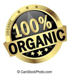 organique, 100%, bannière, bouton