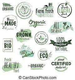 organique, autocollants, insignes, nourriture