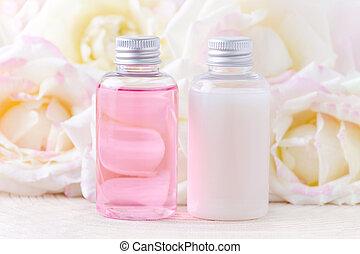 organique, beauté, rose, cosmétique, fleurs, naturel, traitement, frais, bouteilles