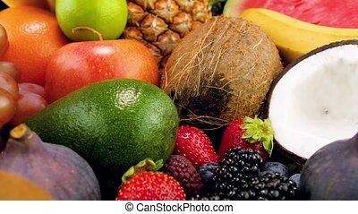 organique, berries., vidéo, nutrition, savoureux, sain, 4k,...