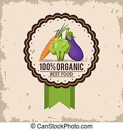 organique, coloré, nourriture, carotte, aubergine, logo, brocoli, mieux
