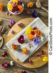organique, comestible, fleurs, cru