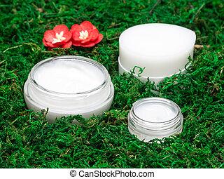 organique, cosmétique, produits, mousse, peau, vert, soin