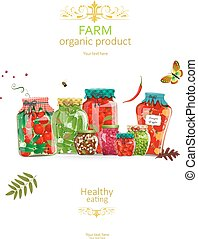 organique, de, conservé vinaigre, collection, rustique, nourritures, pots, ton