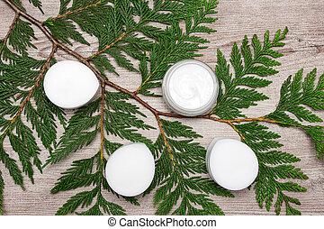 organique, feuilles, produits, peau, vert, soin
