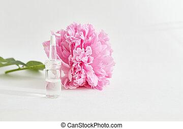 organique, flower., procedures., cosmétique, produits, peau, améliorer, soin