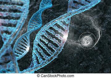 organique, fond, illustration, molécules, adn, 3d