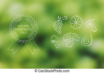 organique, gratuite, chimique, fruit, végétariens, écusson