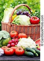 organique, jardin, osier, légumes, panier, frais