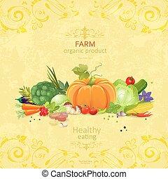 organique, mesquin, légumes, collection, fond, y, chic