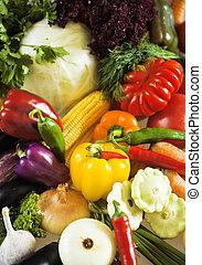 organique, nature, nourriture, légumes, fond, frais