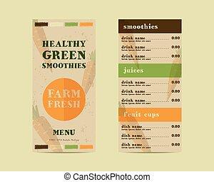 organique, plat, shake., life., restaurant, cru, énergique, boisson, smoothie, café, menu, style., sain, concept., vecteur, jus frais, éléments, fait, ou, légume