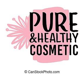 organique, produits de beauté, étiquette, sain, naturel, ...