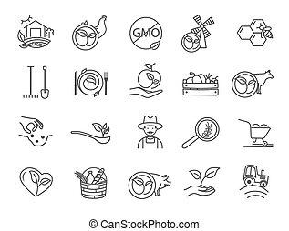 organique, produits, icônes, blanc, assorti, noir