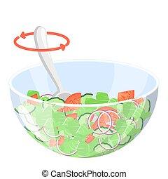 organique, salade, sain, grec, bowl., nourriture