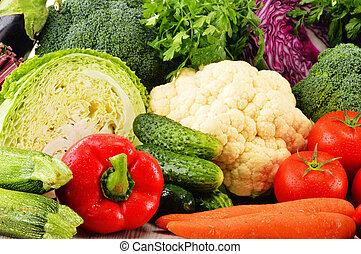 organique, variété, légumes, cru, frais, composition
