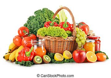 organique, variété, osier, légumes, isolé, fruits, panier, blanc, composition