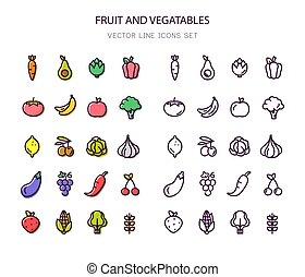 organique, vegetables., icons., nourriture., fruit, stroke., ligne, contour