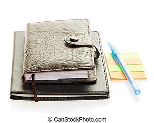 organisatör, anteckningsblock, anteckning tidning, och, den, handtag
