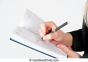 organisatör, kvinna skrift