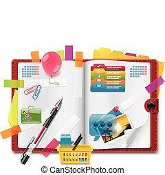 organisatör, presenterar, vektor, personlig