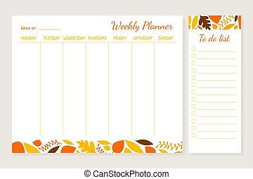 organisatör, vektor, lista, plats, illustration, schema, mall, noteringen, planläggare, varje vecka