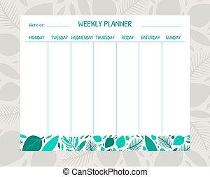 organisatör, vektor, plats, illustration, schema, mall, noteringen, planläggare, varje vecka