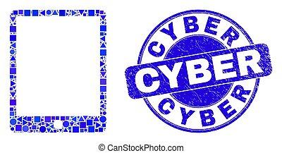 organisateur, cyber, timbre, bleu, détresse, mobile, mosaïque