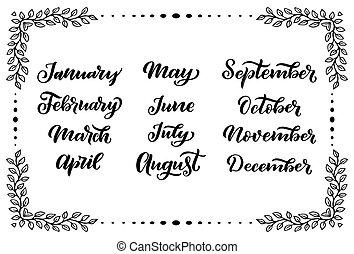organisateurs, calligraphie, août, décembre, septembre, mars, octobre, calendriers, janvier, juin, juillet, noms, mots, mai, avril, months:, février, novembre, manuscrit