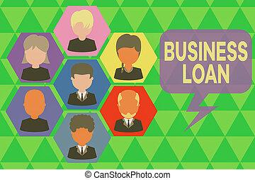 organisation, assistance, hypothèque, crédit, concept financier, avances, staff., business, images, cadre, chef, employés, structure., cadres, écriture, texte, loan., écriture, espèces, signification, dette