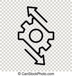 organisation, concept., vektor, abbildung, weißes, prozess, ikone, style., hintergrund., wohnung, ausrüstung, workflow, freigestellt, effektiv, geschaeftswelt