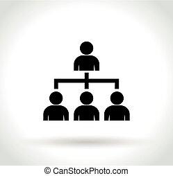 organisation, fond blanc, icône