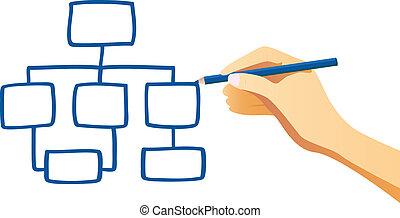 organisation, hand, tabelle, zeichnung