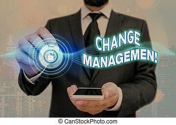 organisation, nouveau, écriture, changement, concept, signification, direction, texte, management., policies., remplacement