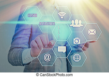 organisation, nouveau, mot, changement, écriture, concept, direction, texte, management., business, policies., remplacement