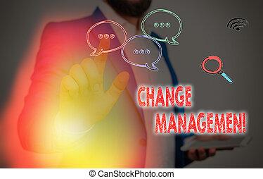 organisation, nouveau, photo, signe, changement, direction, texte, projection, management., conceptuel, policies., remplacement