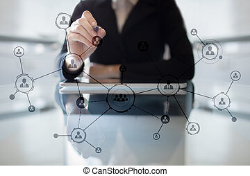 Organisation structure. People's social network. Business and technology concept