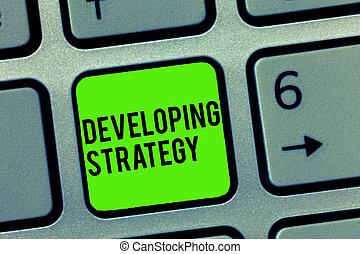 organisations, développer, processus, texte, projection, portée, signe, strategy., photo, conceptuel, changements, objectifs