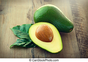 organisch, avocado., houten, bladeren, tafel, avocado's