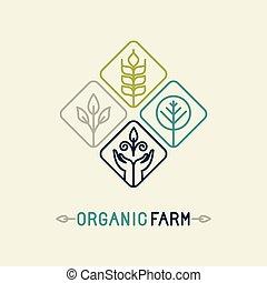 organisch, boerderij, vector, logo, lijn, landbouw