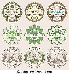 organisch, etiketten, en, communie