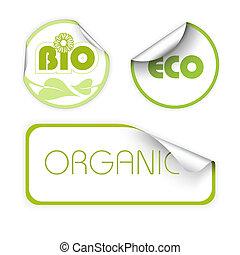 organisch, etiketten, set